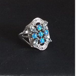 Genuine Aquamarine & Opal Silver Ring